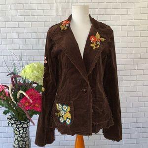 Johnny Was Floral Corduroy Blazer Fringe Boho Coat